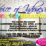 AUDISI KONSER BROADWAY.All Ages.25 April.3PM.Send CV+Foto: voiceof.indonesia@yahoo.com Info 72795738 http://t.co/V92WX6kDTQ
