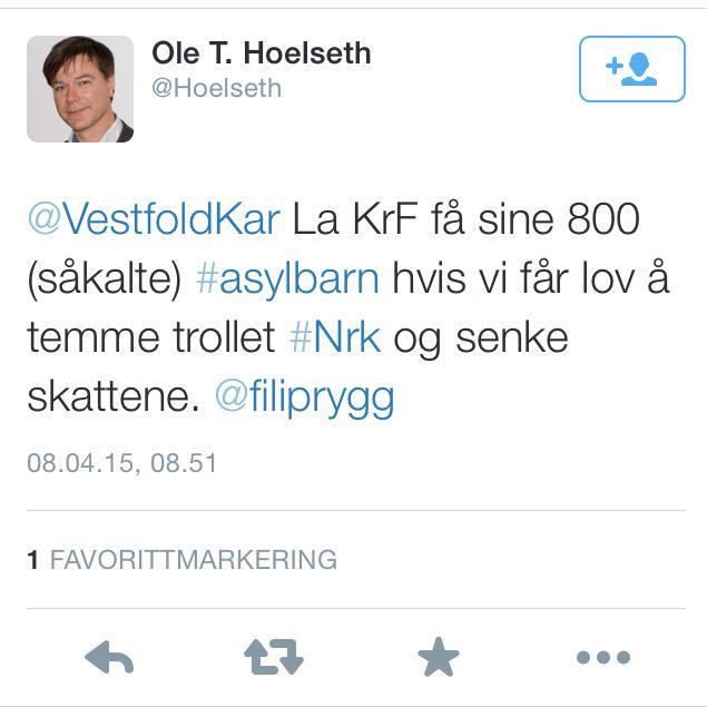 """For et lavmål. FrP-politiker skriver: """"såkalte asylbarn"""" (og kaller NRK for et troll) http://t.co/4fgPiNqxrs"""