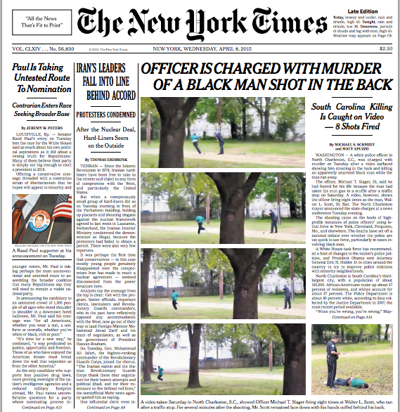 .@nytimes front page, with images of s.c. officer shooting #WalterScott. story: http://t.co/V8igR7wseM #media http://t.co/3K9lasQsYO