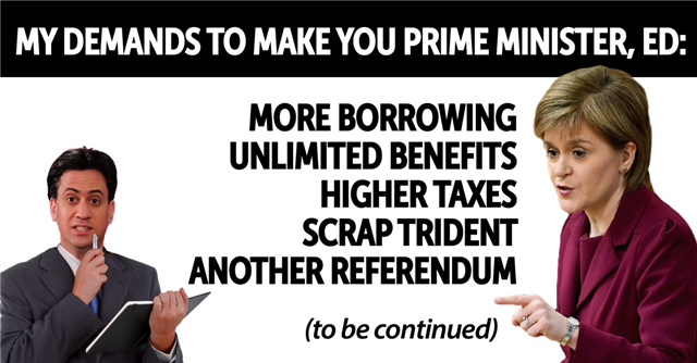 Sir Eric Pickles (@EricPickles): The SNP's list of demands to prop up Ed Miliband keeps getting longer. #ScotDebates http://t.co/k3o1Um5Cpk http://t.co/YmYAbXYrh3