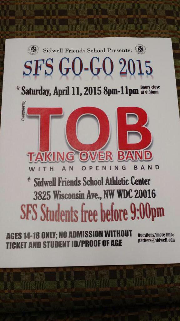 April 11th catch us @SidwellFriends get ur tix now http://t.co/UnpcW3VfQv
