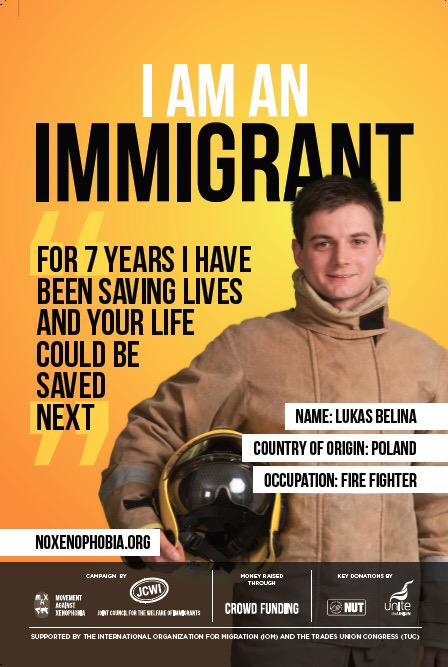 First look at the crowdfunded  #IAmAnImmigrant @NoXenophobia poster campaign about to go live across the UK #GE2015 http://t.co/F15fvvjg8x