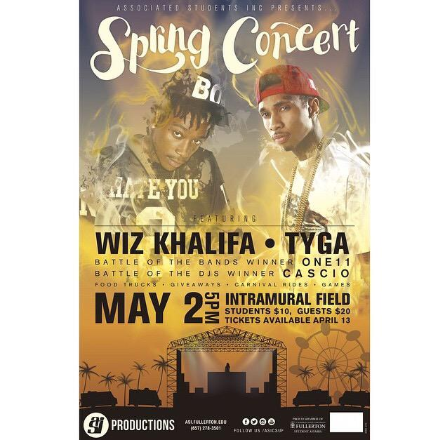 Our @ASICSUF Spring Concert performers.... @wizkhalifa & @Tyga! May 2nd can't come fast enough. http://t.co/6PdXa0bqOj