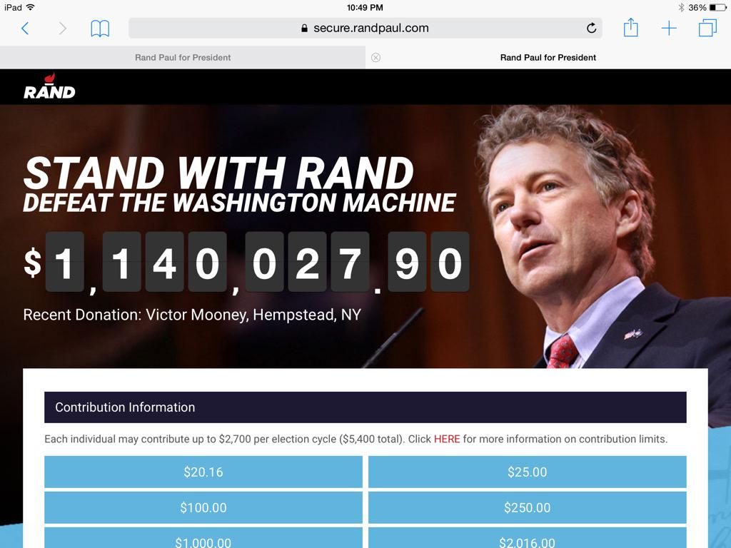 Another donation to @RandPaul. 2nd one today #StandWithRand http://t.co/nnHgqsBHPH