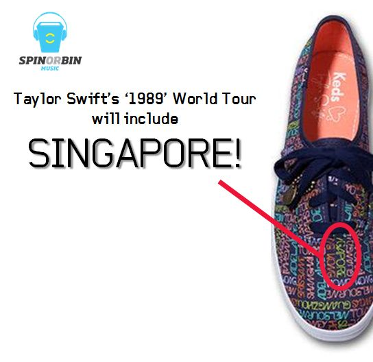 Taylor Swift gets cryptic on details of her '1989' World Tour on Keds sneakers! SINGAPORE IS CONFIRMED AS A STOP! http://t.co/VEXDsasa89