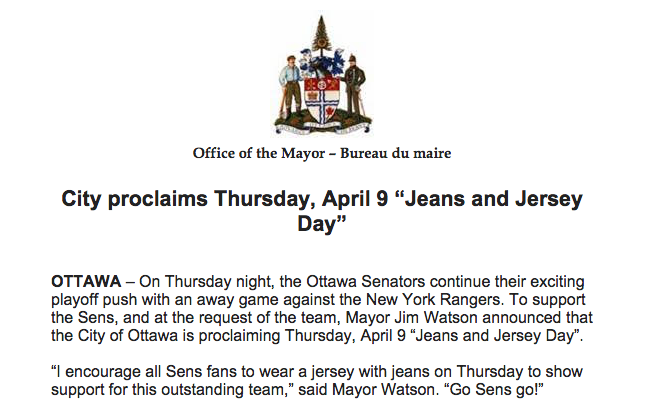 """It's """"Jeans and Jersey Day"""" in Ottawa! Wear your @Senators jersey to show support! Retweet to spread the word http://t.co/ZZVL0hbg9f"""