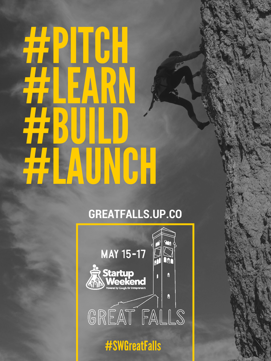 Startup Weekend Great Falls May 15-17 at UGF http://t.co/vPjdT5oJr5 #Pitch #Learn #Build #Launch #SWGreatFalls http://t.co/gS25paBral
