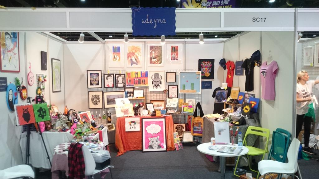 Round two of @MEFCC with the @ideyna crew! Comic handmade goodies from the #UAE #Dubai Come on by #ComicCon http://t.co/fgSiVqTLPC