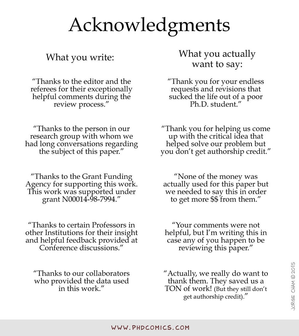funny thesis acknowledgements Acknowledgements page for thesis or dissertation acknowledgements format the acknowledgements page is required for all theses and dissertations.