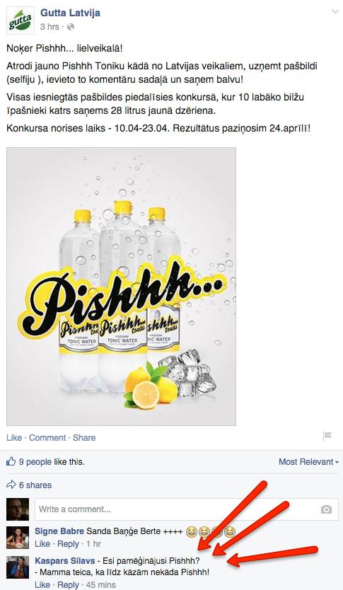Neticēju, bet oficiālā @GuttaLV FB lapa nemelo, #Pishhh nav izdomāts! Komentārs spridzina.   Kā būtu ar vienu… http://t.co/8rJ2vH9UJB