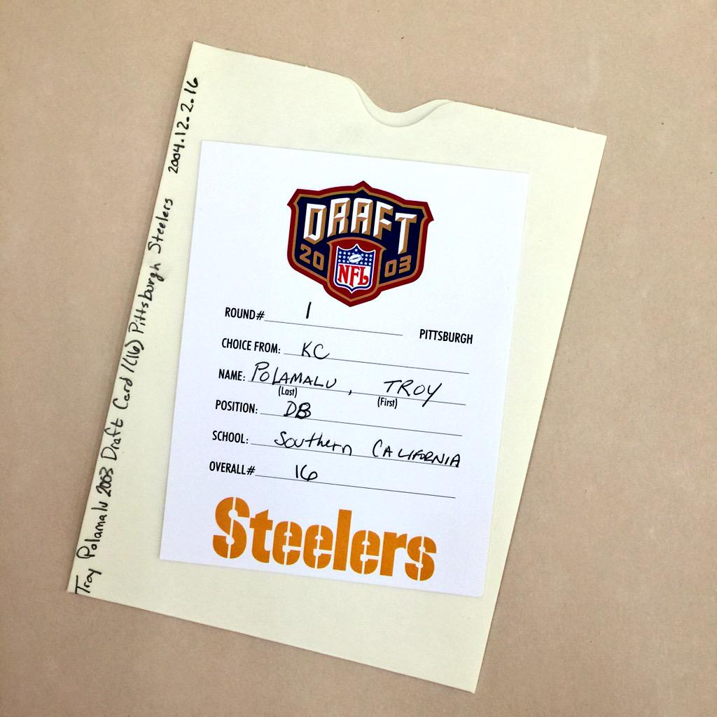 From our collection: The #NFLDraft card used by @steelers to select @tpolamalu 16th overall in 2003.   #ThankYouTroy http://t.co/LWUrear8Wt