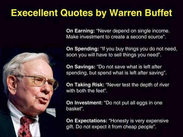 Excellent quotes by Warren Buffet. http://t.co/413cWk5rPq