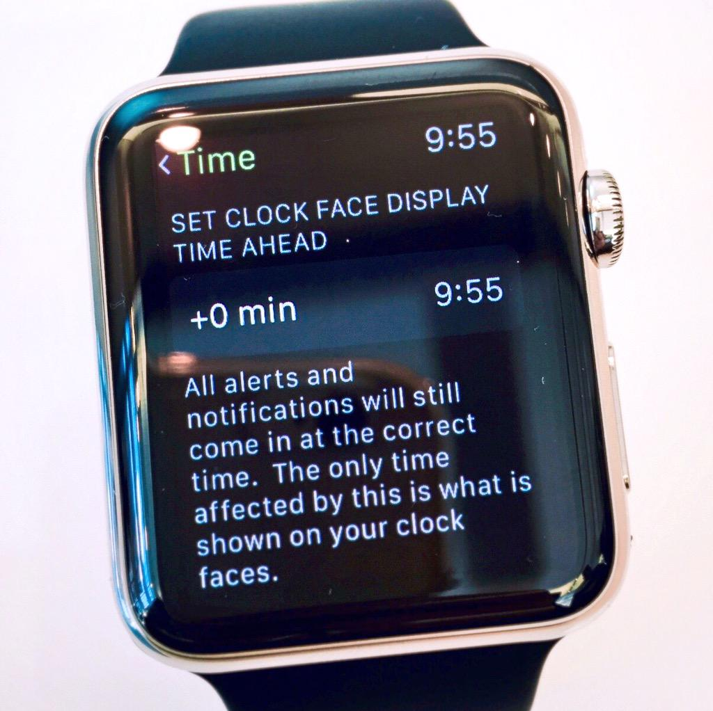  Watch settings let's you set clock face ahead. Good news, I like to set my watch 5-10 min ahead. Cc @reneritchie http://t.co/IrbrQOpqLl
