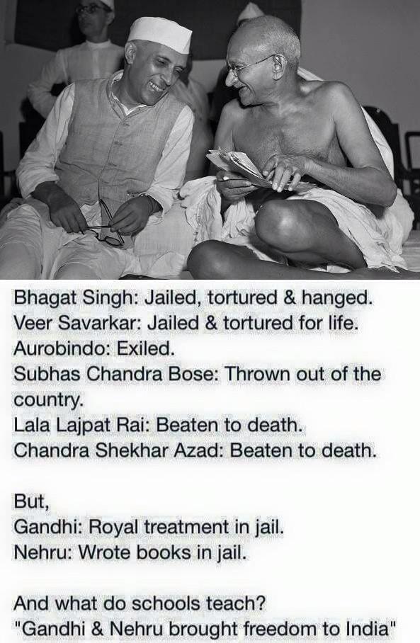 Reality of freedom fighters #Nehru #Gandhi #Netaji #BhagatSingh #Savarkar #Azad #Aurobindo #Rai http://t.co/HQH9opQCHP