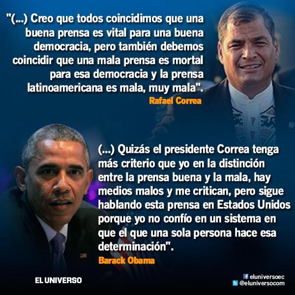 Presidentes Obama y Correa en cruce de declaraciones en la #Cumbredelasaméricas. http://t.co/bcDKtsNQMq http://t.co/Pg69QeUr9L