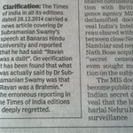 RT @ajeetmall: @Swamy39 TOI has clarified today about Ravana was a dalit comment. http://t.co/q5OJoW5q6T
