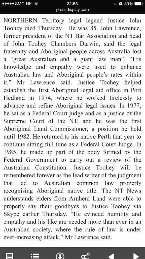Vale John Toohey AC, former High Court Justice, remembered for his work in Indigenous issues http://t.co/dPZkF9JBKv http://t.co/imnDDnxDOC
