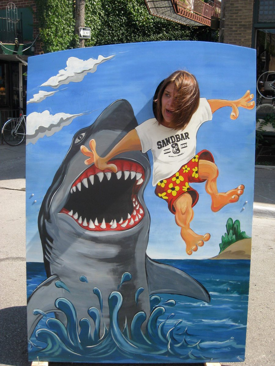 Important PSA: Someone stole our shark photo opp early this morning. On Dave's birthday. Not cool. #lawrence #lfk http://t.co/A43cYsgL2i