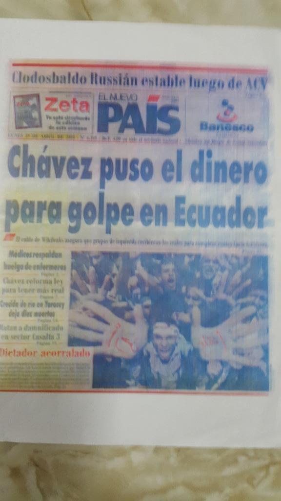 Chavez puso dinero para golpe en Ecuador @3Gilmar @willycochez @radiocityec @tomebamba @RadioMorena @nicbritograndes http://t.co/s87yDoeIJv