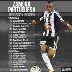 #Primera | Ésta es la alineación de Julio Quintero para el duelo de #ZamoraFC vs #PortuguesaFC. #VamosZamora http://t.co/IwCqA98QbK