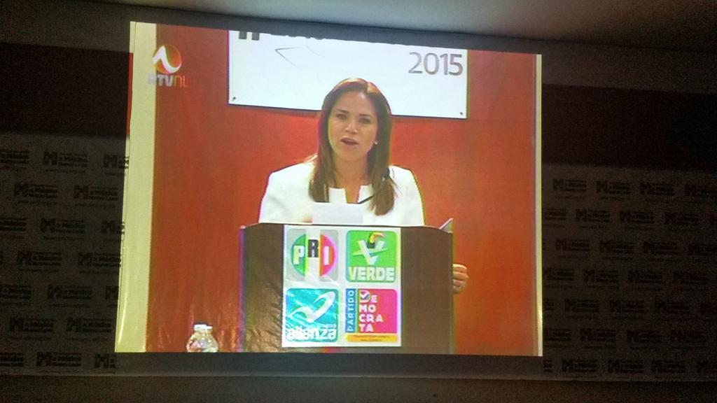 Alhinna Vargas (@AlhinnaVargas): En la sede estatal del PRI, viendo la participación de nuestra candidata  @alvarez_ivonne #DebateNL #LaRazaConIvonne http://t.co/N3oqAWjhyw