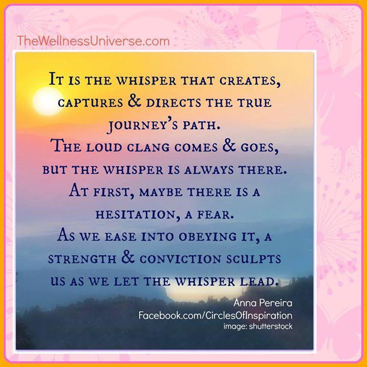Our whispers guide us. #WUVIP #TeamBossyGals @Emmanueldagher @TwelveLessons @CharlesGlassman @AwakeningPeople @Oprah http://t.co/7PW9mgvd2C
