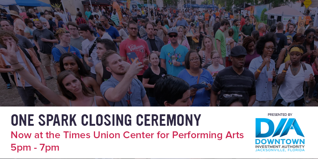 ATTN: #OneSpark Closing Ceremony will be moved to the Times Union Center for Performing Arts! 5pm-7pm http://t.co/8InJ0WbCpL