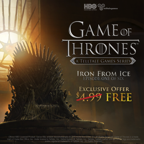 Ep. 1 of @telltalegames' @GameOfThrones series, currently free! Plus 25% off season pass! http://t.co/Dic62YBYxy http://t.co/1b5NDu6hcK