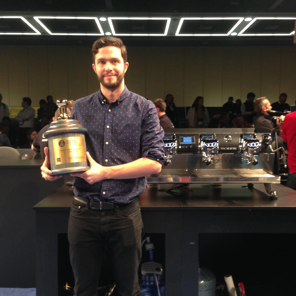 Well done Mr. @charlesbabinski , Runner-up in the 2015 World Barista Championship. Proud of you!  #WBC2015 #SCAA2015 http://t.co/0SnhM7FVqn