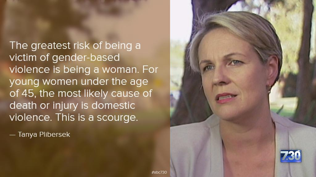 "31 women have died from violence this year in Australia. ""This is a scourge,"" says @tanya_plibersek. #abc730 #VAW http://t.co/RLS2EWZqgz"