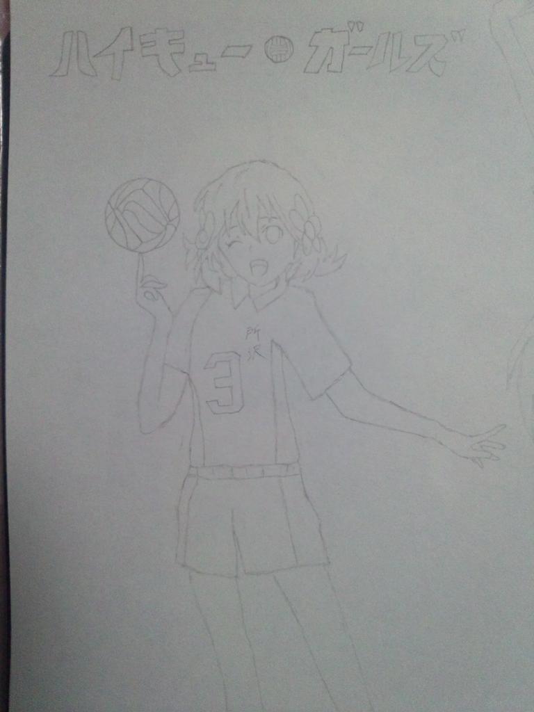 バレーユニフォームの千綾ちゃん(モノクロ)を描いてみました。ポーズはクリアファイルのイラストから、ユニフォームは「ハイキ