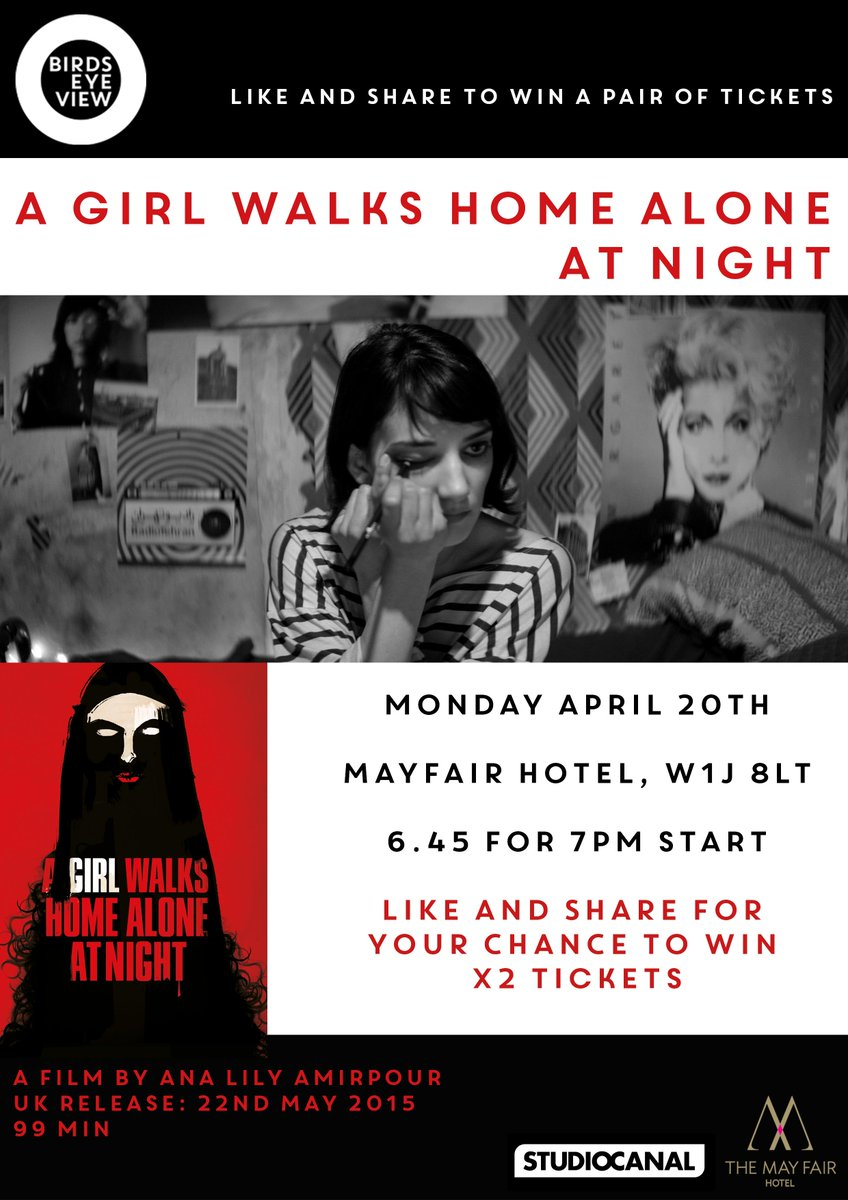 Win tickets to our private, preview screening of A Girl Walks Home Alone At Night, 20.04 @TheMayFairHotel RT to win! http://t.co/fZMhoROtP7