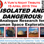 RT @RyInSpace: The @YurisNight celebrations continue Wed 4/15 w/ @Astro_Cady on special analogue research panel! Free! RSVP req'd! http://t…