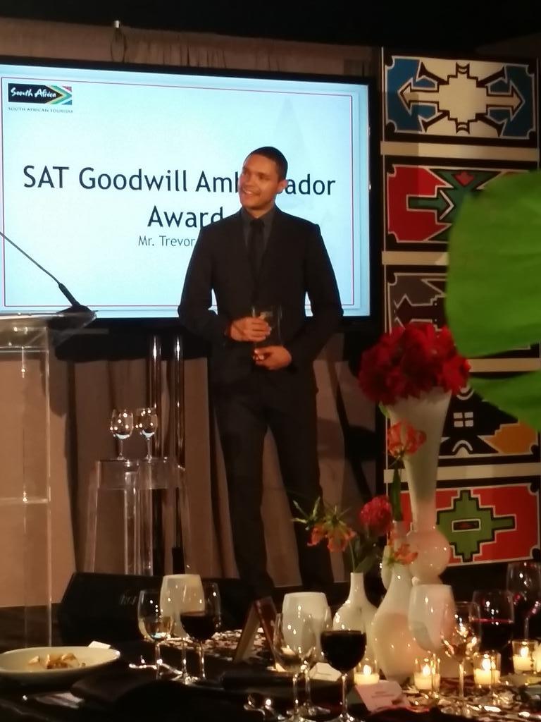 Congrats to @Trevornoah on receiving the @SouthAfrica Tourism Goodwill Ambassador Award. Well deserved! #Ubuntu