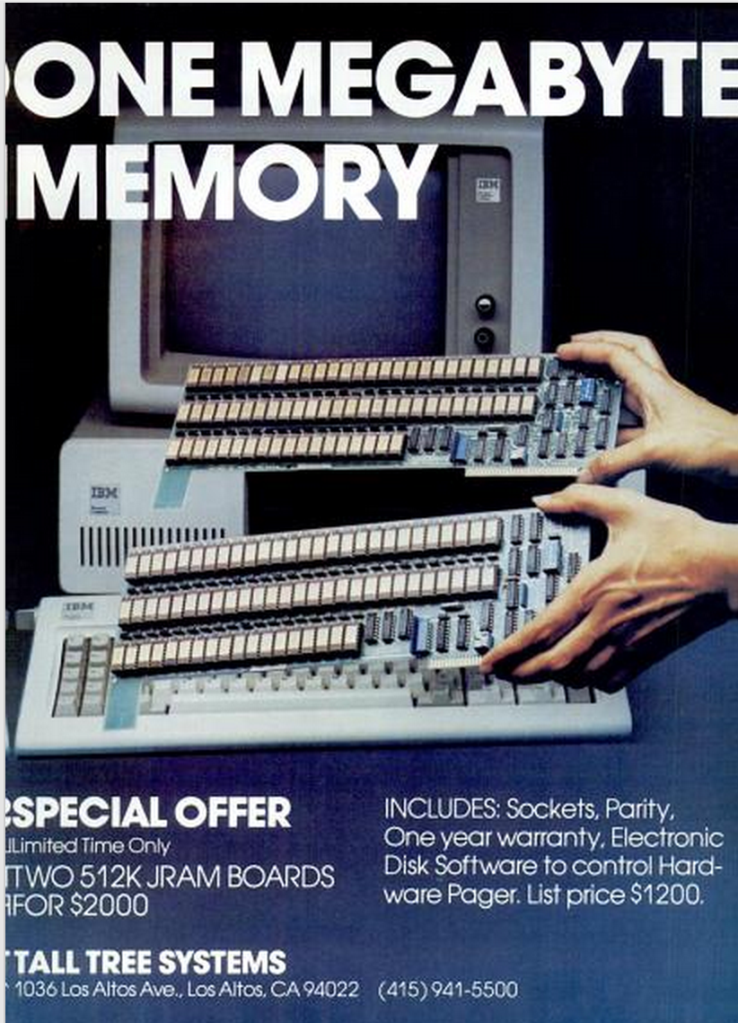 In 1982, you needed two hands and $2000 to handle 1MB of RAM. http://t.co/s38q5zbtDW