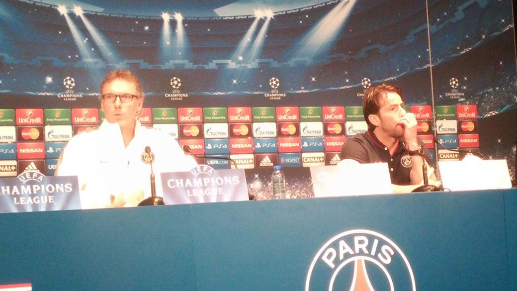 Début de la conférence de presse du @PSG_inside avec Laurent Blanc et Maxwell http://t.co/StwGbzp3mW