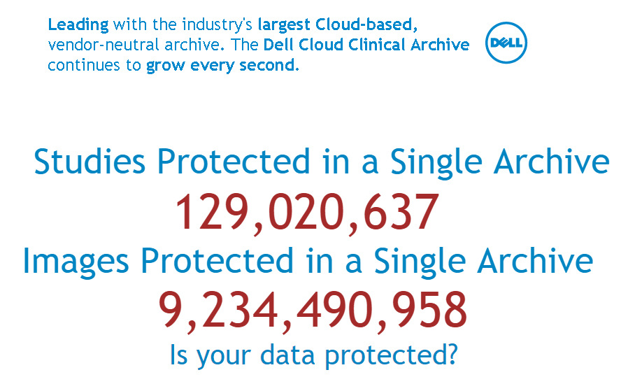 9.2B+ #medical #images managed &secured in @Dell #cloud! See it live at booth 955 #HIMSS15 @MichaelDell @DellServices http://t.co/R7vuhwZWay