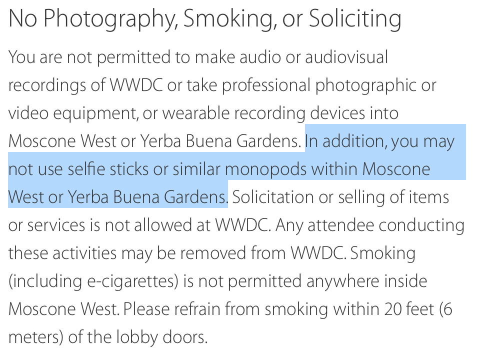 Apple bans selfie sticks from WWDC. http://t.co/hGzgfACgph