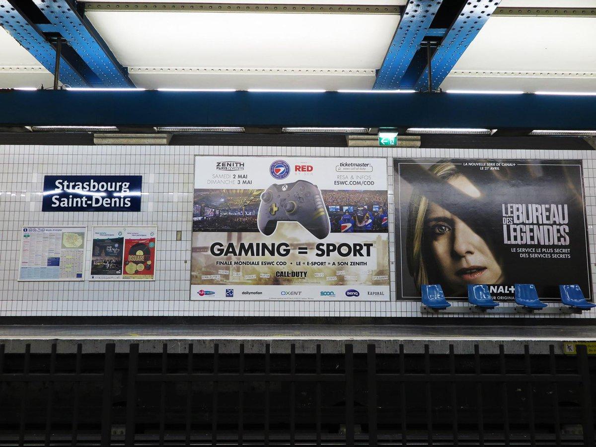 Cette semaine l'@esworldcup envahit le métro parisien avec un message fort, gaming = sport #esport #eswc http://t.co/Q6fE9z77bf