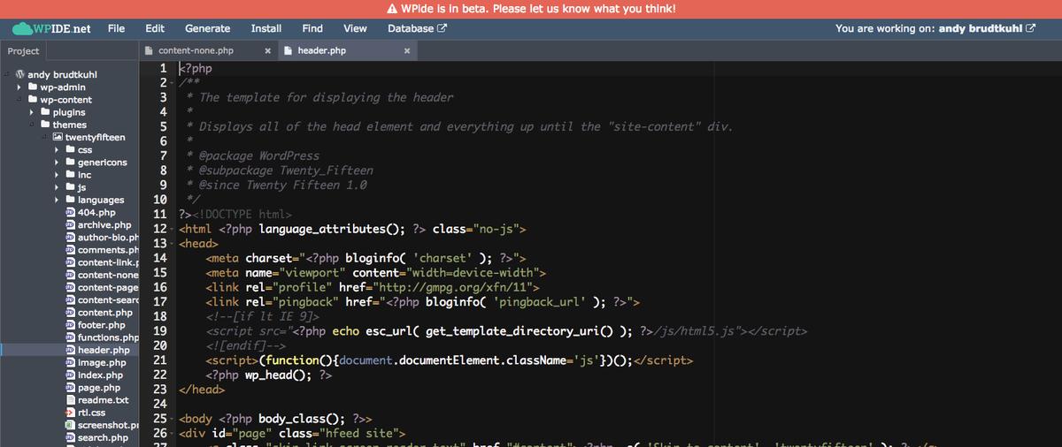 nice... playing with @wpidenet #WordPress http://t.co/0AmdBKPXNL