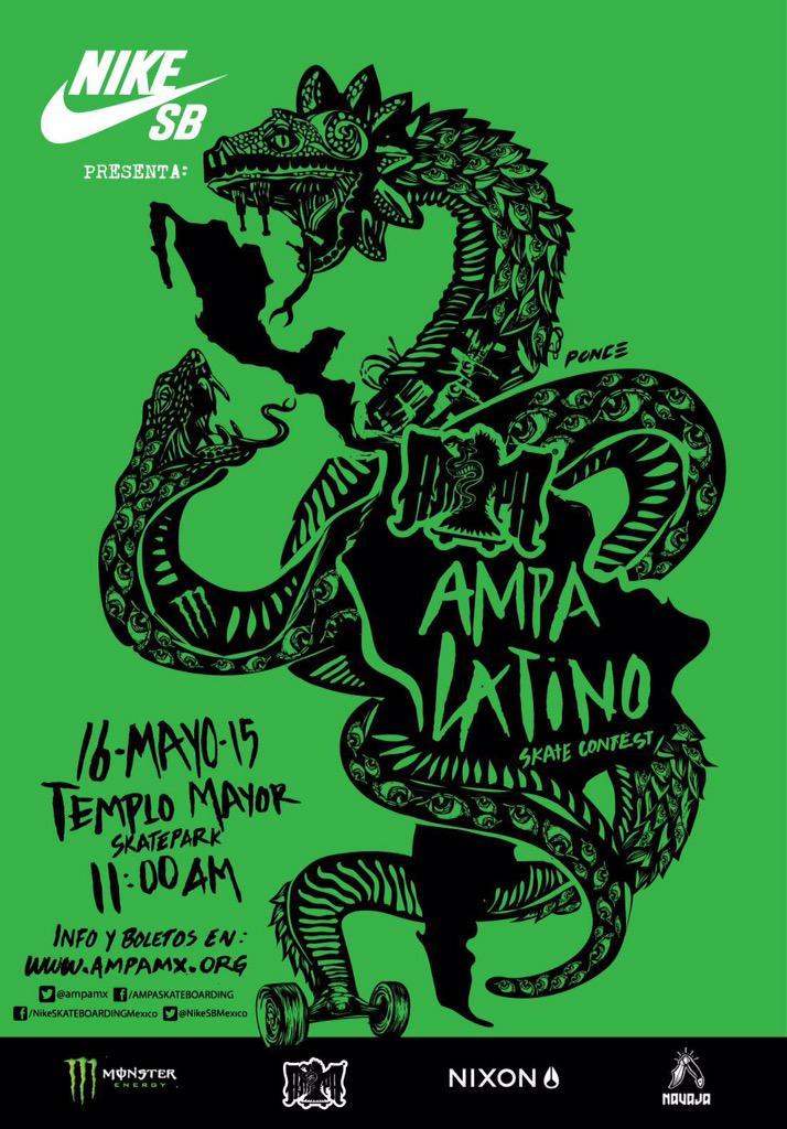 """""""Nueva Fecha para Ampa Latino"""" 16 de mayo, toda la info en http://t.co/CeqT6CxkFk y en @NikeSBMexico http://t.co/0ZTBVtJnQW"""