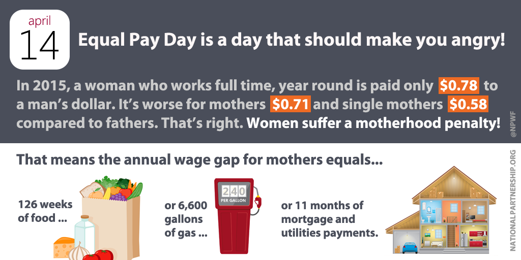 "The ""motherhood penalty"" makes it harder for moms who are breadwinners to provide for their families. #EqualPayNow http://t.co/FWEIsJcg9P"