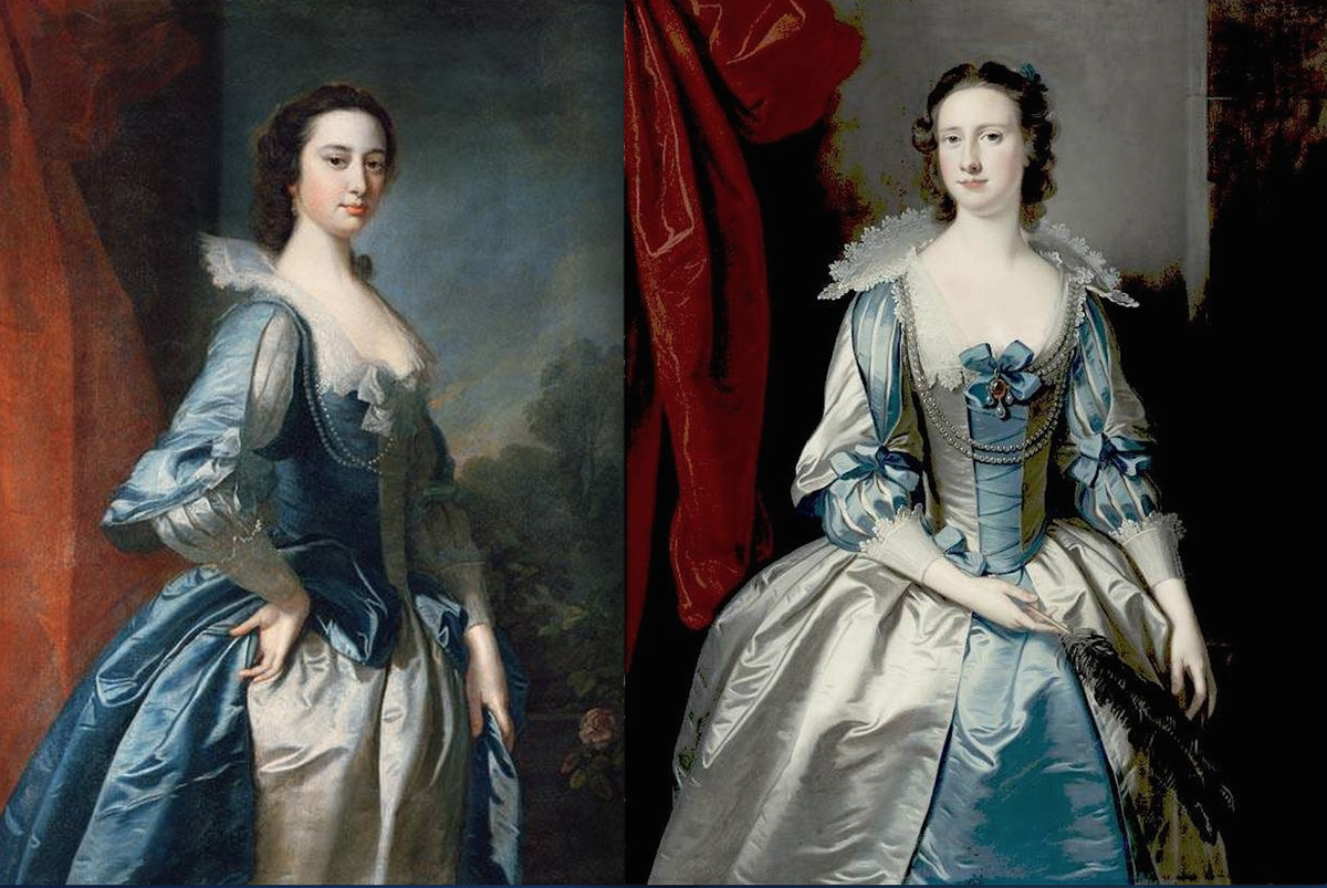 Who wore it better? Two 1770s ladies by Thomas Hudson - same gown, colors reversed. #fashionhistory #18thc http://t.co/3rIvqlNssk