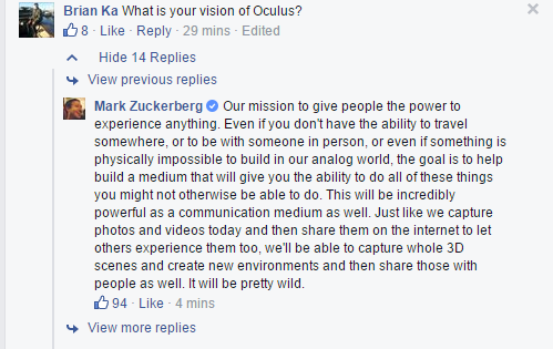 Mark Zuckerberg's vision for Oculus per his AMA. Based on this he should be tracking @Matterport and @AltspaceVR. http://t.co/QQdmVcMG4Z