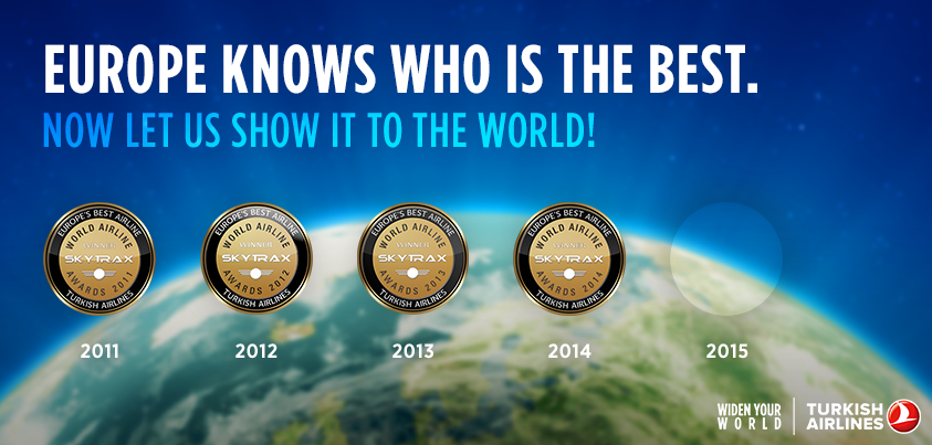 This time let's fly even higher! Visit and nominate us for the World's Best Airline award.