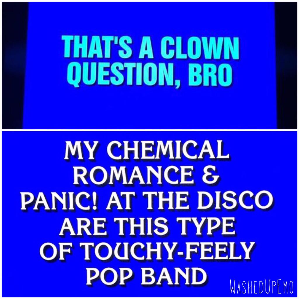 """Emo"" was the correct response to this clue on Jeopardy last night. http://t.co/rze7KuU0N7"