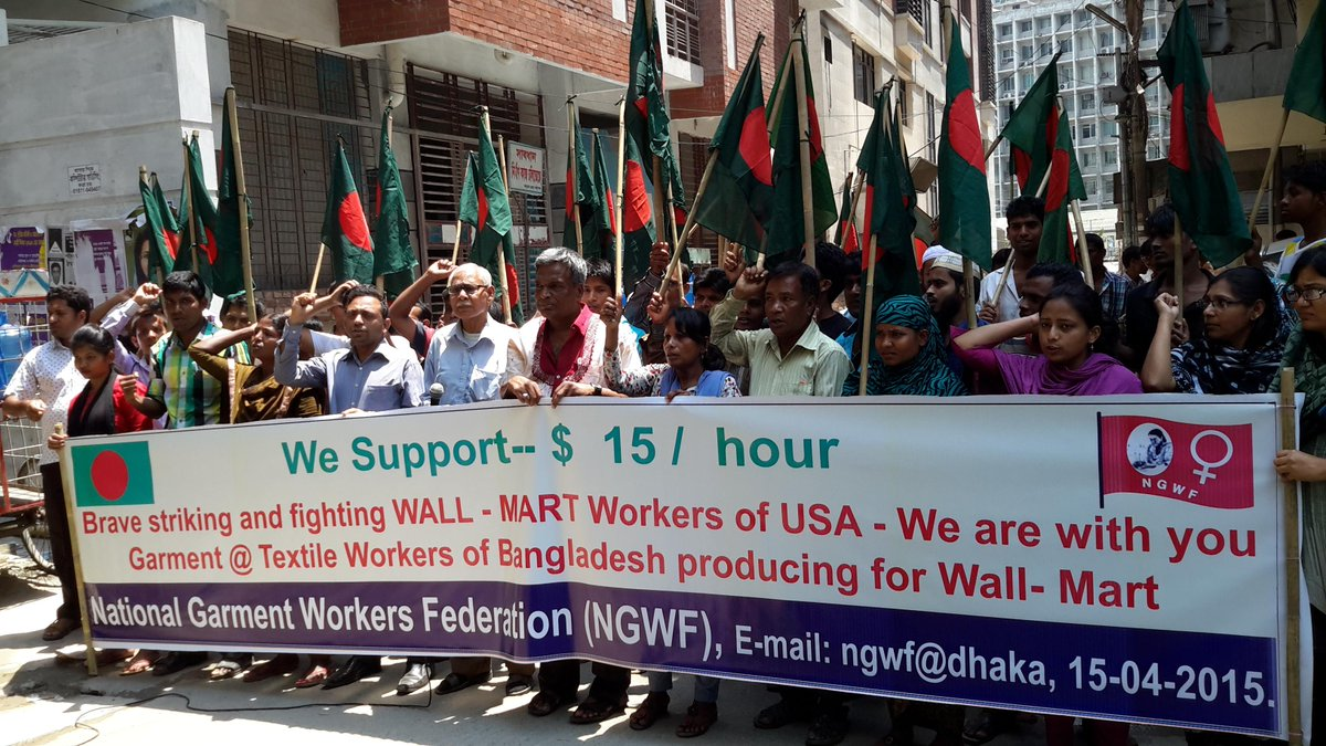 Workers in #Bangladesh who make a min wage of $68/month stand in solidarity with #Fightfor15 in US! #Walmart @NGWF_BD http://t.co/jcnjOcfAS6
