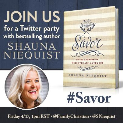 Twitter party 4/17 1-2pm EST @sniequist @FamilyChristian #FCBloggers. $400+ in prizes! http://t.co/DG5SHQPgFh #Savor http://t.co/azI4yuhZI4
