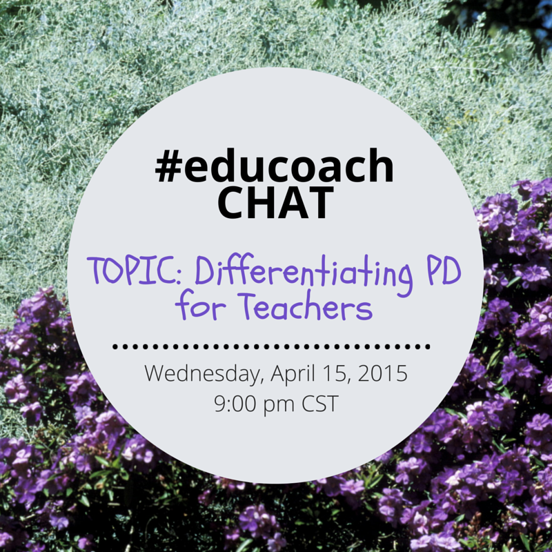 Tonight's #educoach chat will be on Differentiating PD for Teachers. #iatlc http://t.co/1oQo5fTAP7