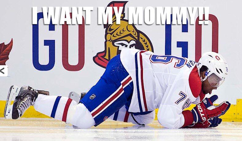 Hey @PKSubban1, quit you're crying. How about you stop maliciously swinging at our players! #Sens http://t.co/BnokrrcZY8